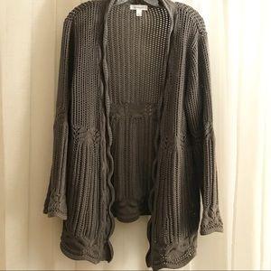 Dress Barn Gray Crochet Open Front Cardigan XL